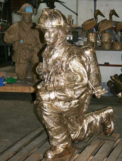 Finished sculpture in bronze, before patina at the Maiden Foundry