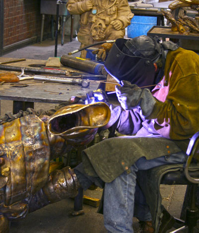 Tooling bronze pieces into whole sculpture at the Maiden Foundry
